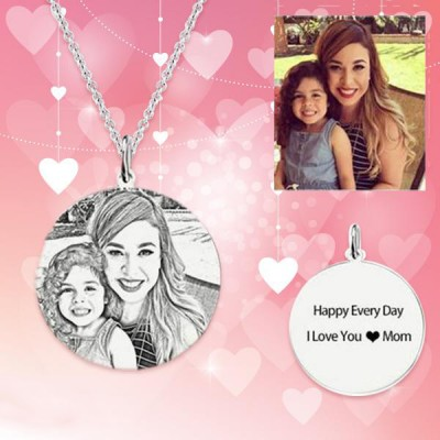Women's Round Photo Engraved Tag Necklace