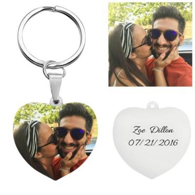 Customize Photo Keychain Titanium Steel Heart Shaped