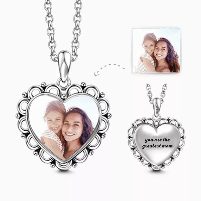 S925 Silver Engraved Heart Photo Necklace