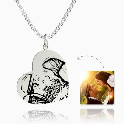 Vertical Heart Photo Engraved Tag Necklace