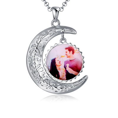 Personalized Photo Necklace Sun & Moon