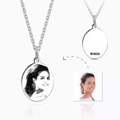 Engraved Oval Shadow Carving Photo Necklace