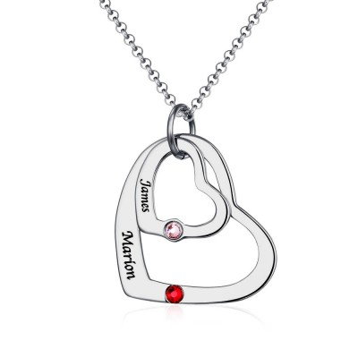Heart In Heart Names Necklace With Birthstone