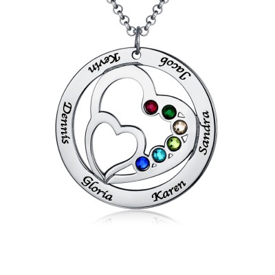Silver Personalized Double Heart Name Necklace with 1-7 Birthstones and Names