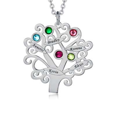 Personalized Tree-Design Family Necklace With 1-6 Names And Birthstones