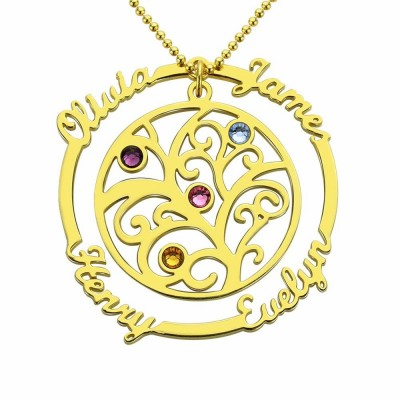 Personalized Tree-Design Family Necklace With 1-4 Names And Birthstones