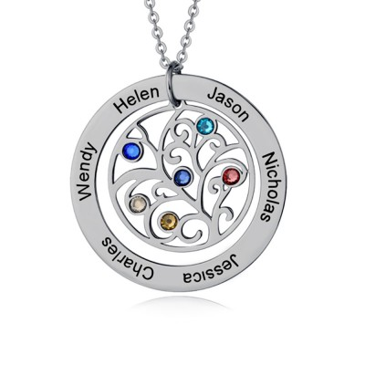 Personalized Family Name Necklace with 1-7 Birthstones and Names