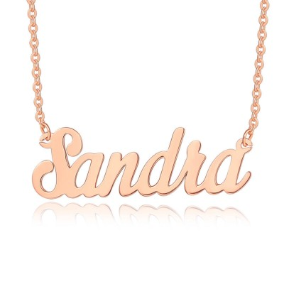 """18K Rose Gold Plating Personalized Customized """" Carrie"""" Style Name Necklace"""