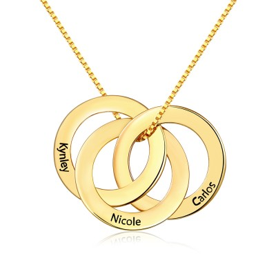 Personalized 1-6 Rings Pendant Name Necklace For Family Gifts
