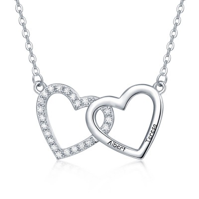 Personalized Gold Hearts Engraved Name Necklaces With 2-3 Love Hearts Jewelry For Her