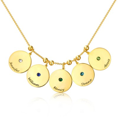 Personalized Birthstones Pendants Name Necklace With 1-10 Charms