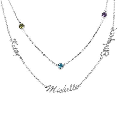 Personalized Birthstones Layered Name Necklace With1-6 Names