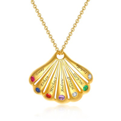 18K Gold Plating Personalized Shell Shape Pendant 1-9 Name Birthstone Necklace