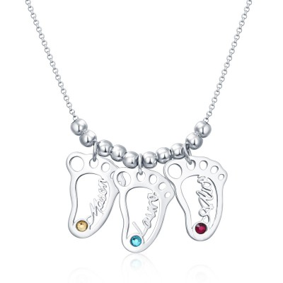 Silver Personalized 1-10 Hollow BabyFeet Charms Name Necklace With Birthstone