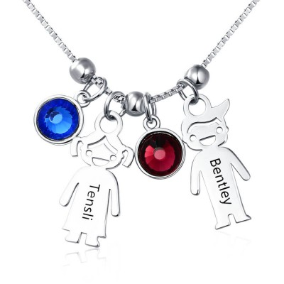 Silver Personalized 1-12 Kids Charms Pendants Names Engraved Necklace With Birthstone