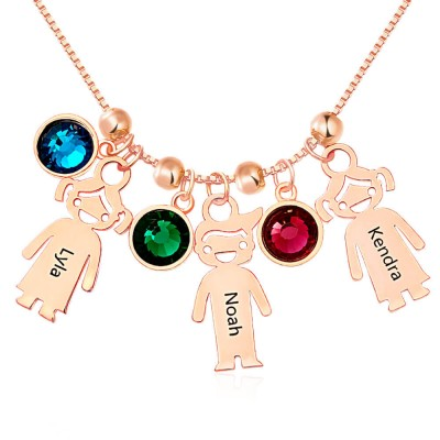 Personalized 1-12 Kids Charms Pendants Names Engraved Necklace With Birthstone