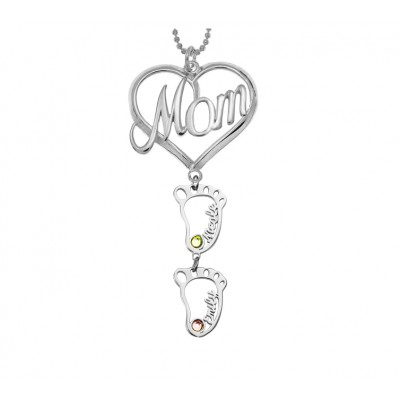 Silver Personalized MOM Heart Pendant Birthstones Name Necklace with 1-10 Hollow BabyFeet Charms