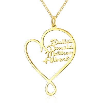 Personalized Hug and Love Heart Names Necklace With 1-8 Names