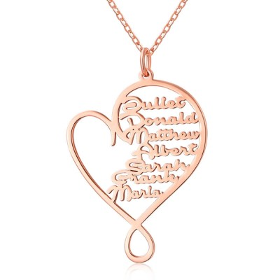 18K Rose Gold Plating Personalized Hug and Love Heart 1-8 Name Necklace