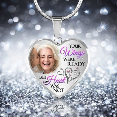 Your Wings Were Ready Personalized Memorial Photo Necklace