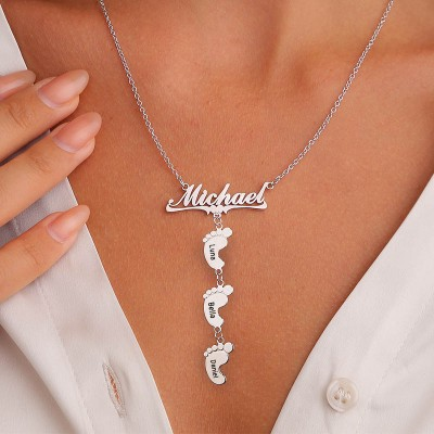 Silver Personalized Mom Name Necklace With 1-10 Baby Feet Charms