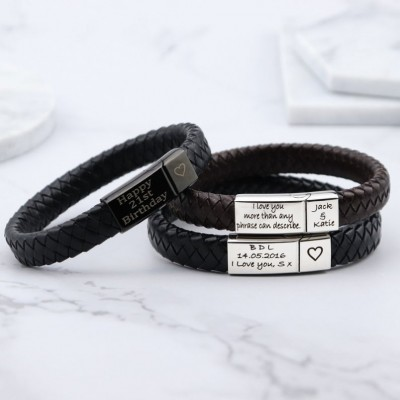 Men Personalized Engraved Name Leather Bracelets