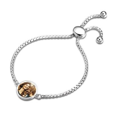Custom Photo Bracelet In Silver