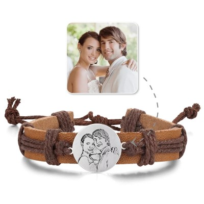 Men's Round Photo Engraved Tag Bracelet Brown Leather Strap