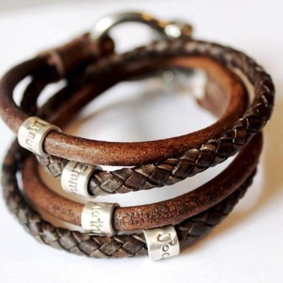Mens Personalized Wrapped Name Leather Bracelets With 1-10 Beads