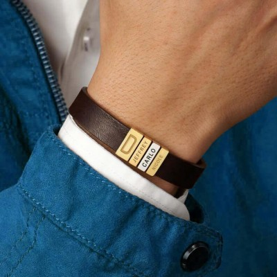 Personalized Dad And Children's Name Engraving Beads Leather Bracelets
