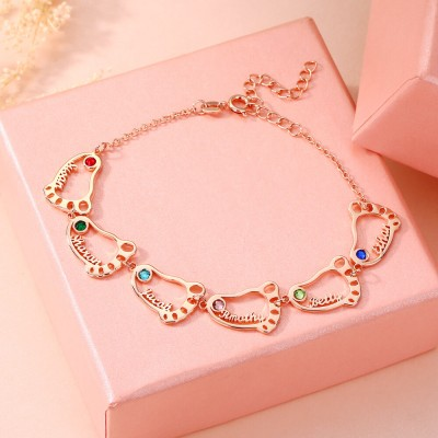 18K Rose Gold Plating Personalized 1-10 Baby Feet Name Bracelet With Birthstone