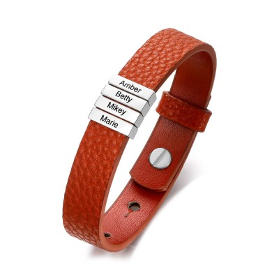 Personalized Dad And Children's 1-11 Name Engraving Bead Leather Bracelet