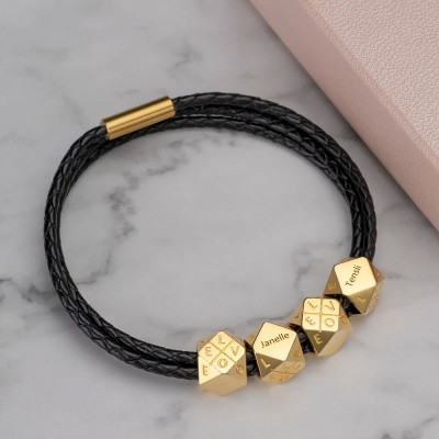 18K Gold Plating Men's Braided Leather Bracelet With Polyhedral Custom Beads