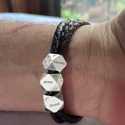 Father's Day Gift Men's Braided Leather Bracelet With Polyhedral Custom Beads