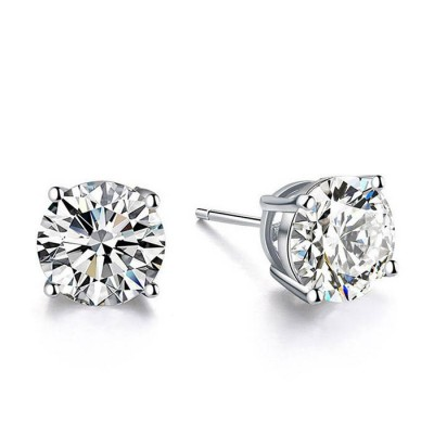 Round White Sapphire Stud Earrings