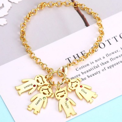 Custom Charms Kids Birthstones Engraved Name Bracelets with 1-6 Children Pendants