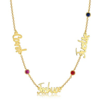 Personalized 1-6 Birthstone and Name Necklace