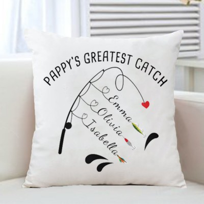 Personalized Family Names Pillow Case Papa Grandpa Dad's Greatest Catch Father's Day Gift