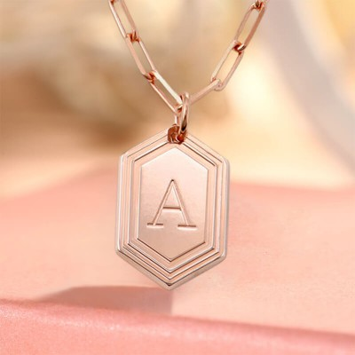 18K Rose Gold Plating Personalized Engraved Initial Pendant Link Chain Necklace Layering Charms Gift For Her