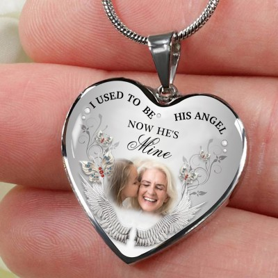 I Used To Be His Angel Personalized Engraving Memorial Heart Photo Necklace