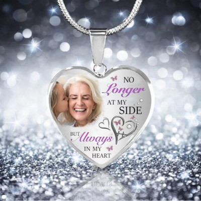 No Longer At My Side But Always in my Heart Personalized Engraving Memorial Photo Necklace