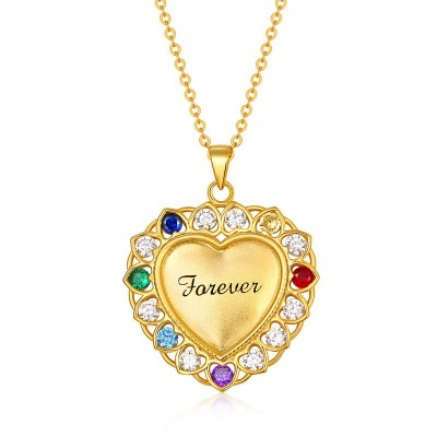 Heart Necklace With 1-15 Birthstones for Grandma