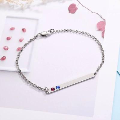 2 Stone Birthstone Silver Name Bar Bracelet