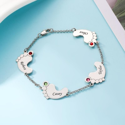 Personalized Birthstone Baby Feet Name Bracelet with 1-4 Charms