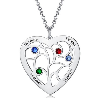 Personalized Engraved Name Necklaces With 1-7 Birthstones