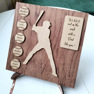 Personalized Baseball Plaque With 1-8 Names Engraved Father's Day Gift