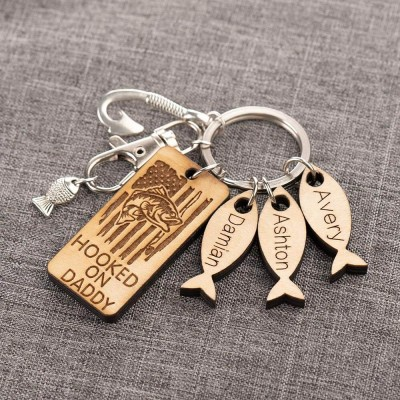 Father's Day Gift Personalized 1-10 Name Engraved Fishing Keychain Daddy Dad Grampa's Keepers
