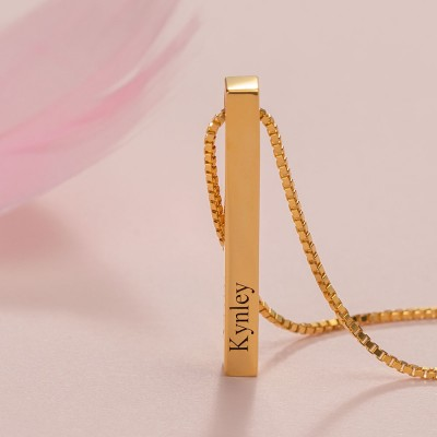 18K Gold Plating Custom Vertical 3D Bar Necklace With 1-4 Sides Engraving