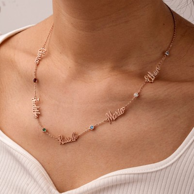 18K Rose Gold Plating Personalized 1-6 Name Necklace With Birthstone