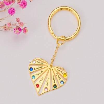 18K Gold Plating Personalized 1-8 Engraving Names with Birthstone Key Chain Gift